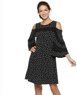 Women's Nina Leonard Dot Cold-Shoulder Bell Sleeve Dress