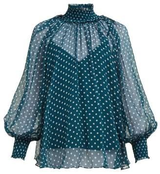 e79d17de3da6d2 Zimmermann Moncur High Neck Polka Dot Silk Blouse - Womens - Green Multi