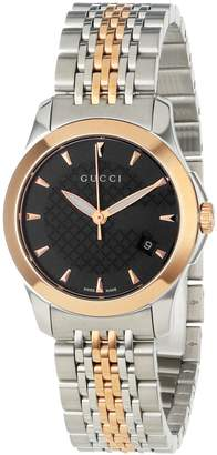 Gucci Women's YA126512 timeless Steel and Pink PVD Black Dial Watch