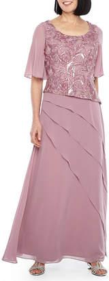 MAYA BROOKE Maya Brooke Short Flutter Sleeve Embroidered Gown