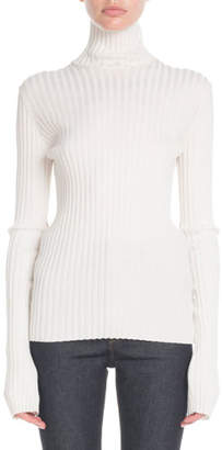 Victoria Beckham Turtleneck Long-Sleeve Ribbed-Knit Sweater
