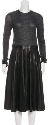 Derek Lam Leather & Wool Midi Dress
