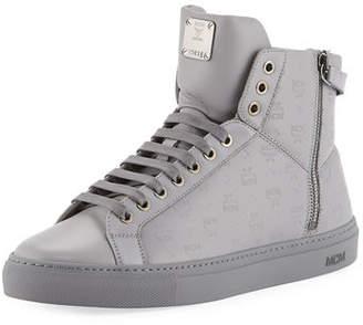 MCM Men's Monogrammed Leather High-Top Sneakers