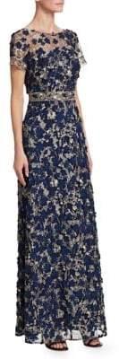 David Meister Floral Applique A-Line Gown