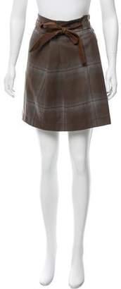 Brunello Cucinelli Leather-Trimmed Plaid Skirt