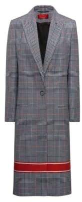 HUGO Boss Relaxed-fit coat plain check & contrast stripe 4 Patterned
