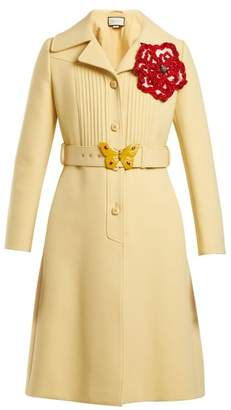 Gucci - Pintucked Butterfly Embellished Belt Coat - Womens - Yellow