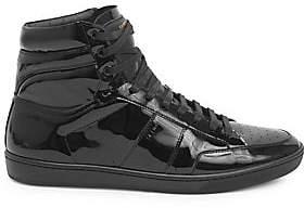 Saint Laurent Men's Patent Leather High-Top Sneakers