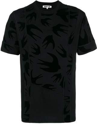McQ swallow print panelled T-shirt