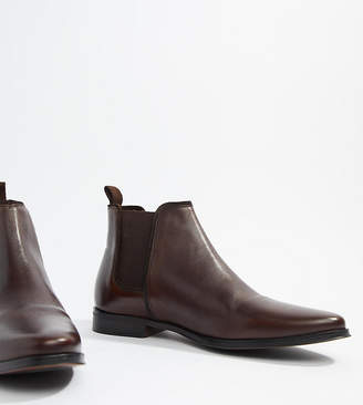Asos Design DESIGN Wide Fit chelsea boots in brown leather with brown sole