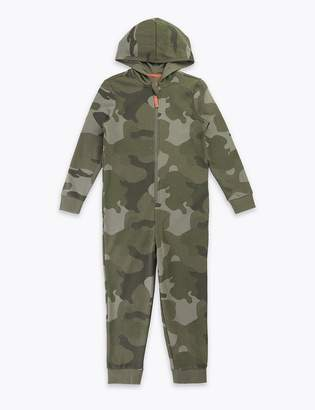 Marks and Spencer Cotton Camouflage Print Onesie (1-16 Years)
