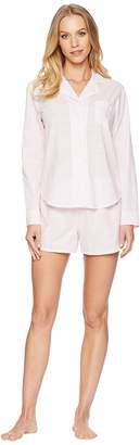 Lauren Ralph Lauren Long Sleeve Notch Collar Boxer Pajama Set Women's Pajama Sets