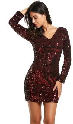 Meaneor Women s Sequin V-Neck Long Sleeve Bodycon Sheath Dress 674a904ea