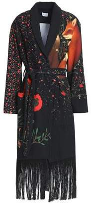 Vilshenko Fringed Embellished Printed Shell Coat