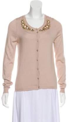 Blumarine Cashmere & Silk-Blend Embellished Cardigan Beige Cashmere & Silk-Blend Embellished Cardigan