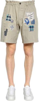 DSQUARED2 Cotton Twill Chino Shorts W/ Patches