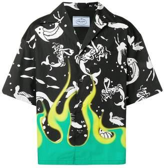 Prada Cuban collar mermaid shirt
