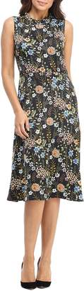 Maggy London Floral Charmeuse A-Line Dress