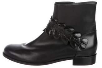 Fendi Leather Round-Toe Ankle Boots Black Leather Round-Toe Ankle Boots