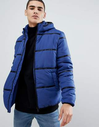 ONLY & SONS hooded puffer jacket with brand tape detail