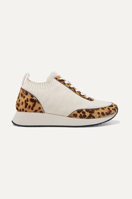 Loeffler Randall Remi Leopard-print Calf Hair And Stretch-knit Sneakers - Leopard print