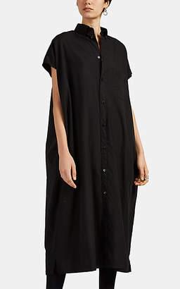 Balenciaga Women's Raw-Edge Cotton Poplin Shirtdress - Black