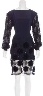 Dries Van Noten Silk-Blend Appliqué-Accented Dress