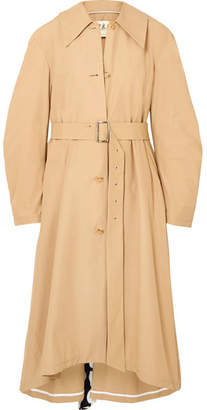 Polka-dot Crepe De Chine-paneled Cotton-blend Trench Coat - Beige
