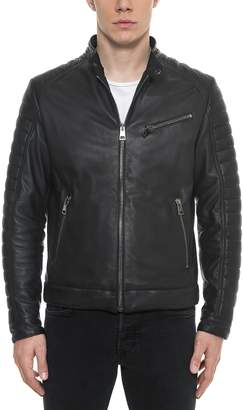 Forzieri Black Padded Leather Men's Biker Jacket
