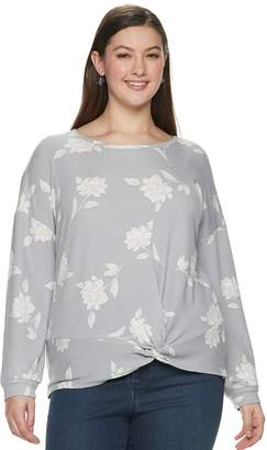 5ad167bf2 at Kohl's · Candies Juniors' Plus Size Candie's Floral Print Twist Front  Sweatshirt