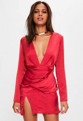 Missguided Red Silky Long Sleeve Panelled Shift Dress