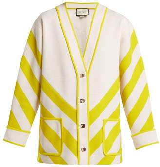 Gucci Chevron Striped Wool Cardigan - Womens - White Multi
