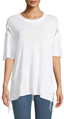 IRO Valiant Scoop-Neck Short-Sleeve Tee w/ Cutouts & Lace-Up Sides
