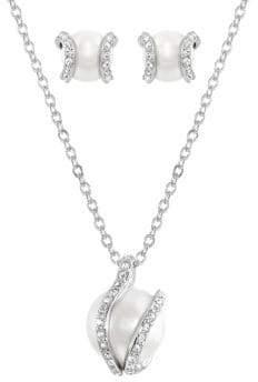 Swarovski Crystal & Faux Pearl Necklace & Earrings Set
