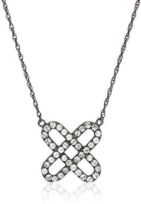 clear Sterling Silver Crystal X Shape Pendant Necklace