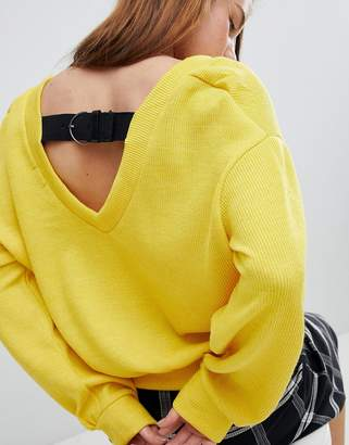 Bershka Buckle Back Balloon Sleeve Jumper