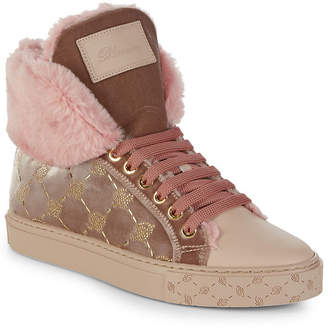 Blumarine Faux-Fur Leather High-Top Sneaker