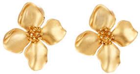 Oscar de la Renta Small Flower Clip Earrings