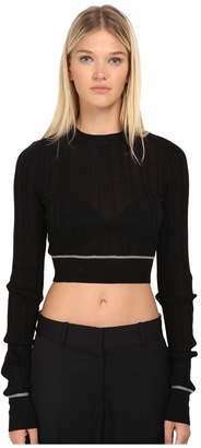 Vera Wang Ribbed Longsleeve Cropped Pullover Top $595 thestylecure.com