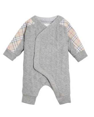 Burberry Dalton Check-Trim Quilted Coverall, Size 3-18 Months