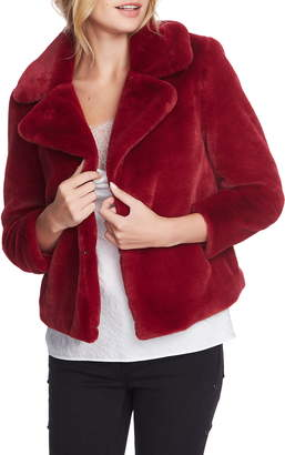 1 STATE 1.STATE Faux Mink Wide Collar Jacket