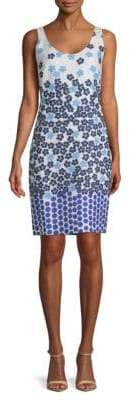 Mixed-Print Jacquard Sheath Dress