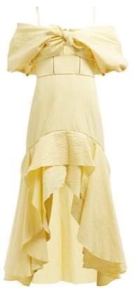 Jonathan Simkhai Off The Shoulder Gingham Seersucker Dress - Womens - Yellow Multi