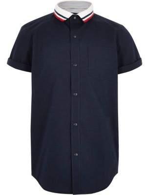 River Island Boys navy knitted stripe collar shirt