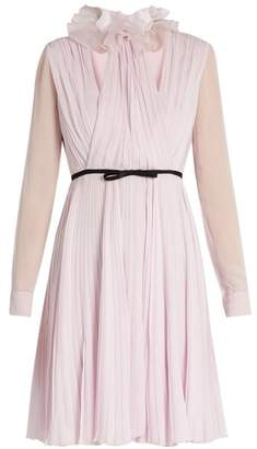 Giambattista Valli Ruffled-neck pleated silk-georgette dress