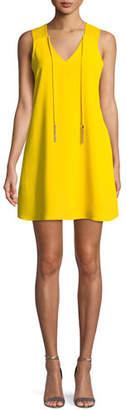 Trina Turk Arleen Mini Dress w/ Self-Tie Neck