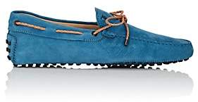 Tod's MEN'S BRAIDED-TIE GRAINED NUBUCK DRIVERS - TURQUOISE SIZE 7.5 M