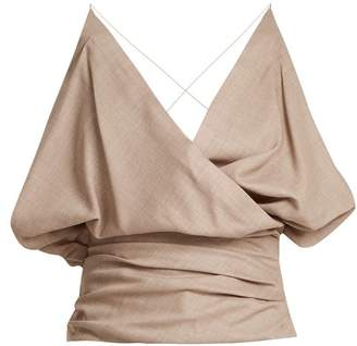 Jacquemus Drape Front Wool Top - Womens - Beige