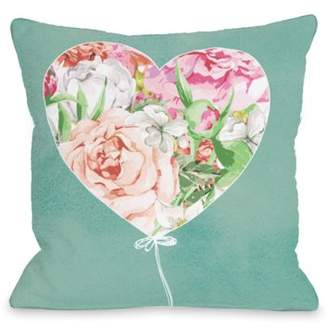 One Bella Casa Floral Balloon Heart - Multi 16x16 Pillow by OBC