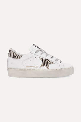 Golden Goose Hi Star Distressed Leather And Zebra-print Calf Hair Platform Sneakers - White